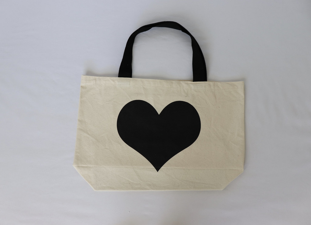 HEART NATURAL CANVAS TOTE with LOVE. on back.