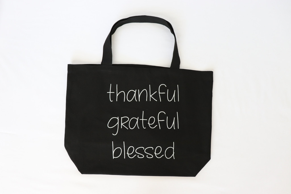 THANKFUL GRATEFUL BLESSED  BLACK CANVAS TOTE with solid back.