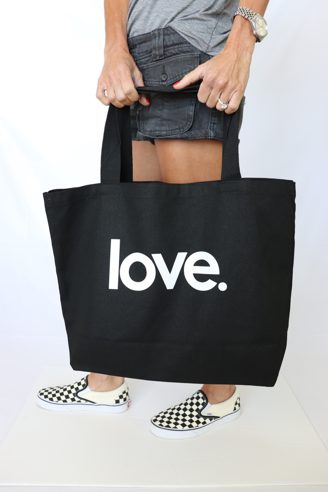LOVE. BLACK CANVAS TOTE with 3 HEARTS on back.