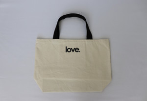 LOVE. NATURAL CANVAS TOTE with 3 HEARTS on back.