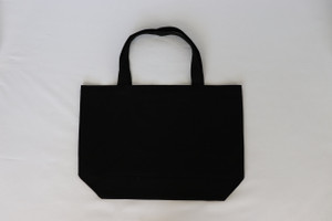 PEACE SIGN SPLATTER BLACK CANVAS TOTE with solid back.