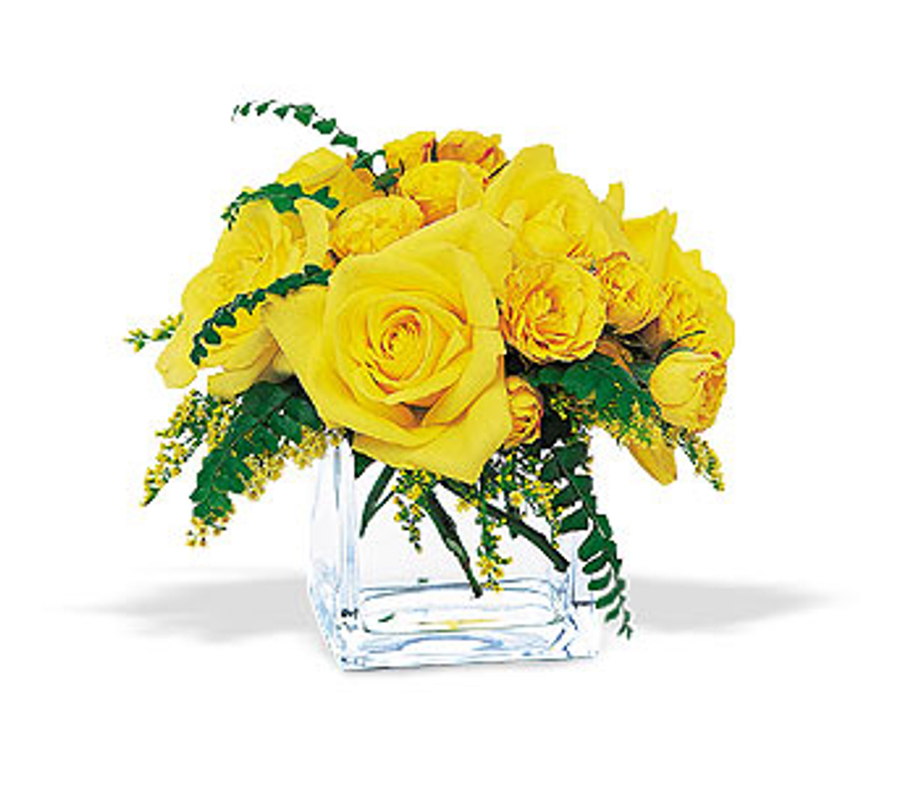 Yellow roses cube kloeckner preferred flowers yellow roses cube mightylinksfo