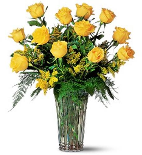 Dozen Yellow Roses and Filler