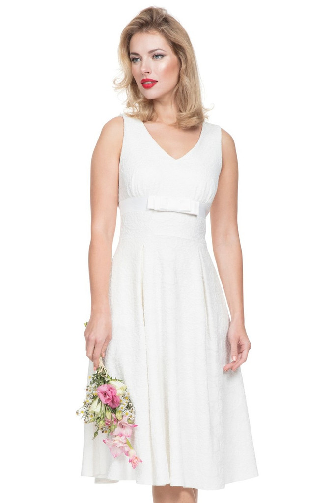 1950s Vintage Style Lace Effect Occasion Dress - White