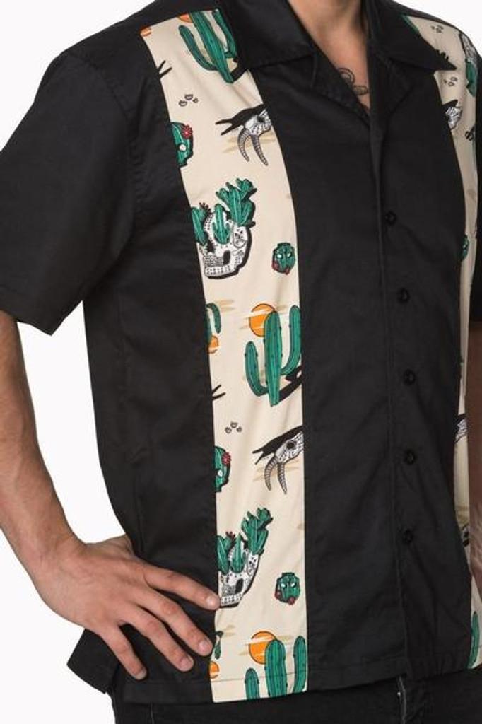 Mens Short Sleeve Black Shirt with Cactus Print