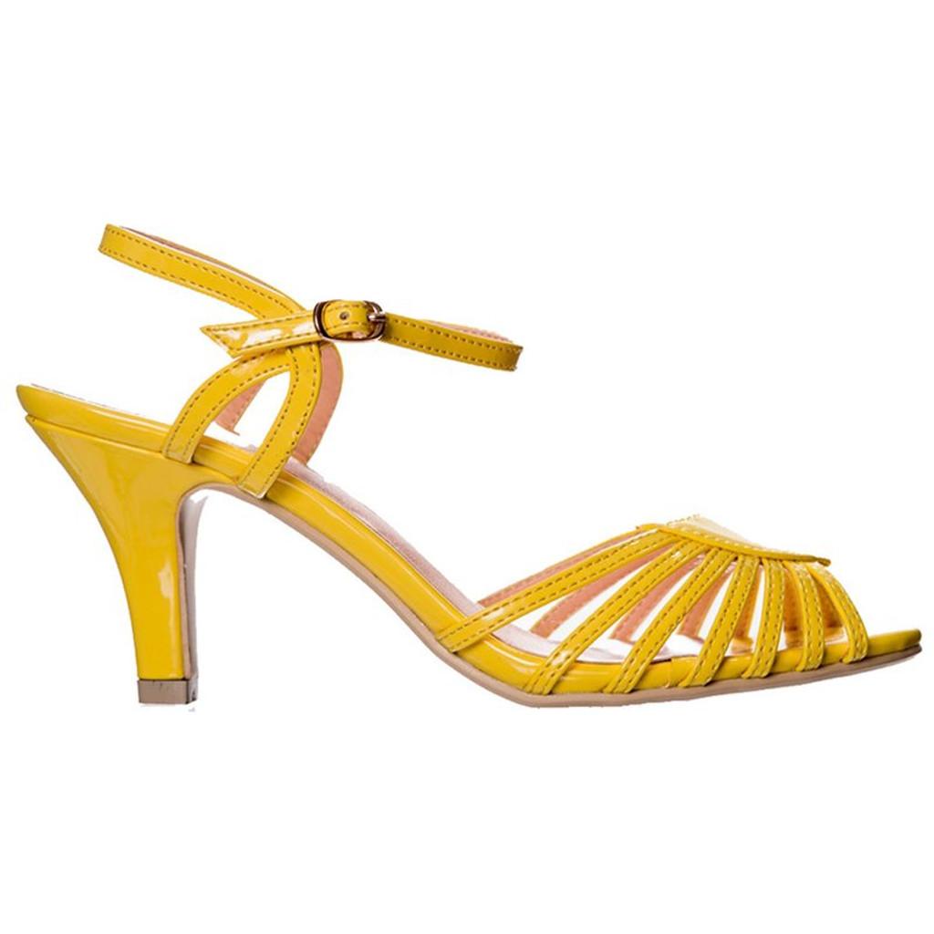 Dancing Days Amelia 1940s Retro Sandals - Yellow