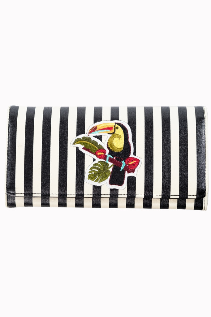 Toucan and Striped Embroidered Wallet