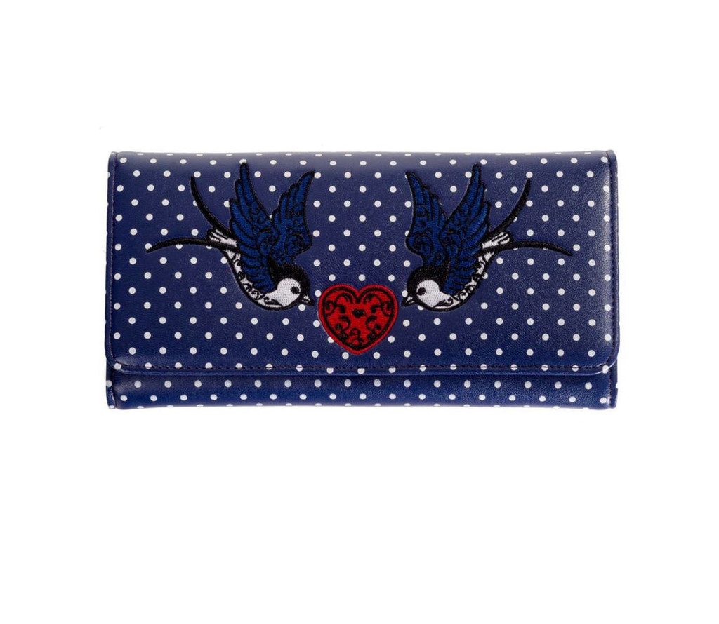 Now or Never Swollow and Polka Dot Purse - Navy