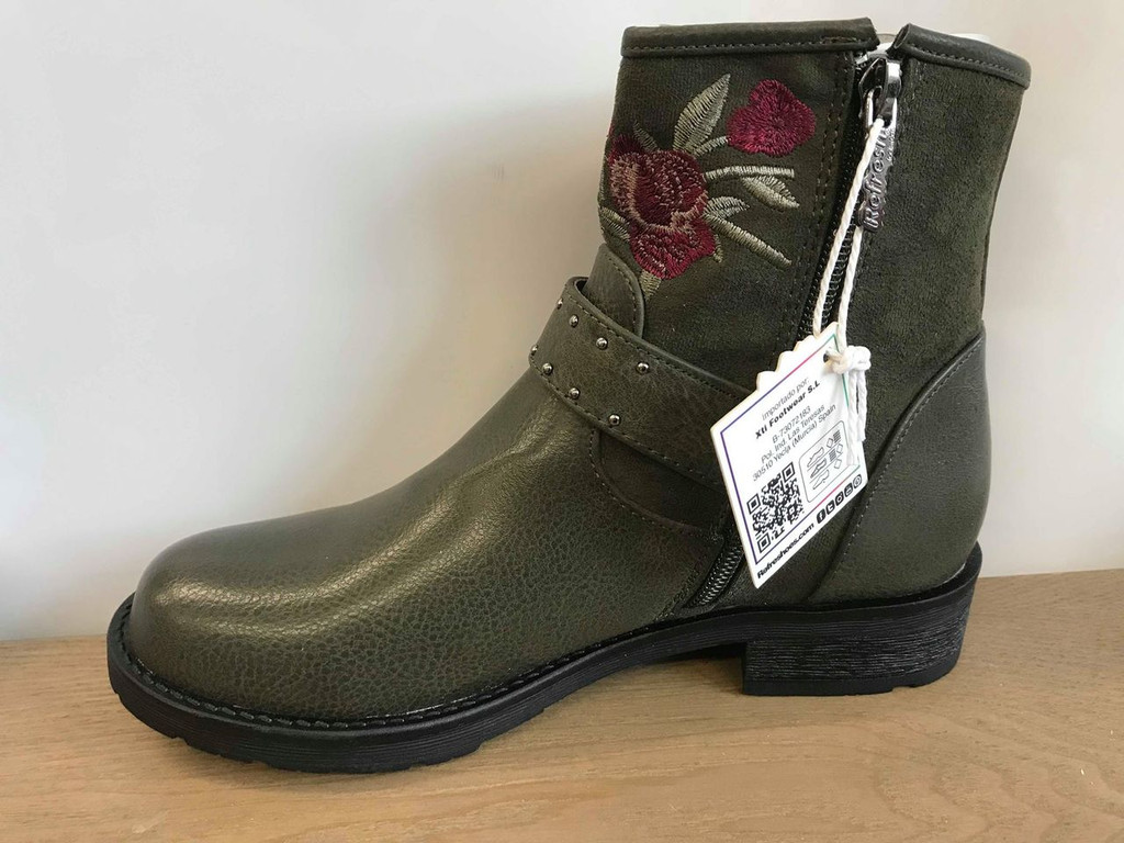 Refresh Green Rose Ankle Boots