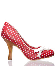 Dancing Days String Of Pearls Polka Dot Pumps - Red