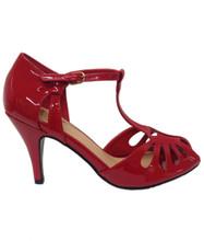 Dancing Days Secret Love 1940s Retro Heart Peep Toes Sandals - Red