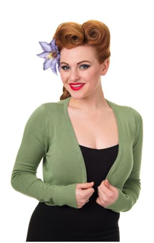 Vintage Style 1950s Retro Soft Bolero Cardigan Top - Vintage Green