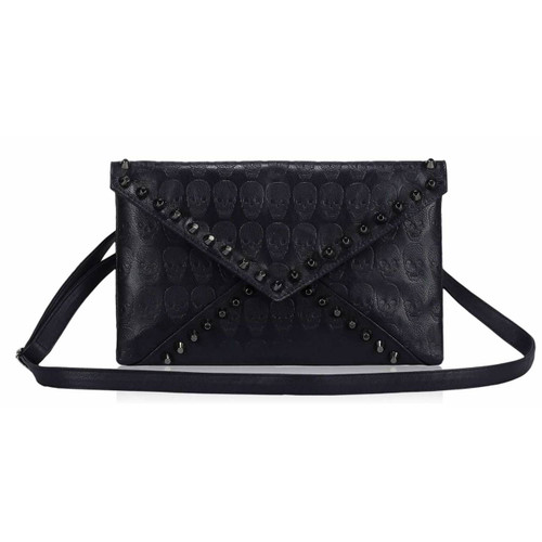 Skull Embossed and Studded Envelope Clutch Bag - Navy