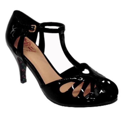 Dancing Days Secret Love 1940s Retro Heart Peep Toes Sandals - Black