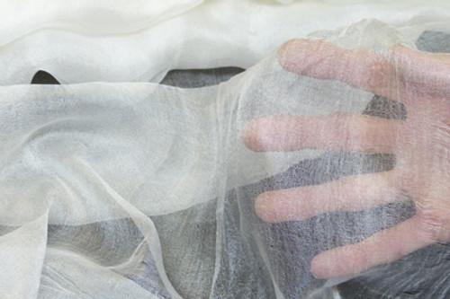 Margilan silk fabric. Very delicate open weave.