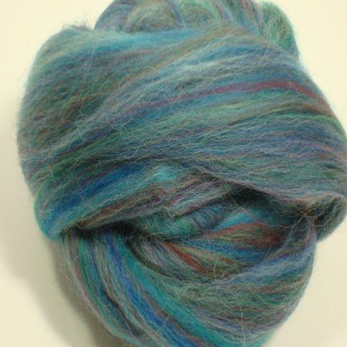 Multi Blue Polwarth wool roving