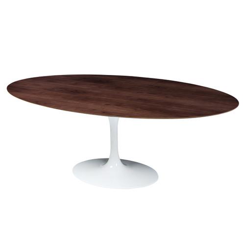 Saarinen Style Tulip Walnut Oval Dining Table White Base - Walnut tulip dining table