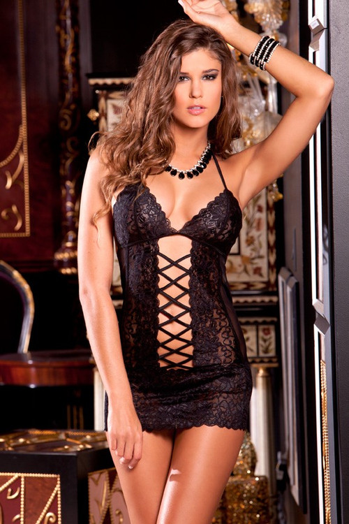 Rene Rofe Criss Cross Chemise With G-String
