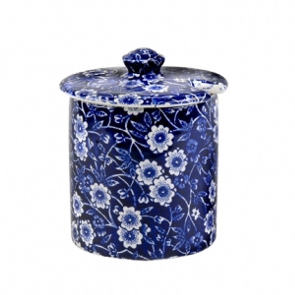 Blue Calico Covered Jam/Sugar Pot