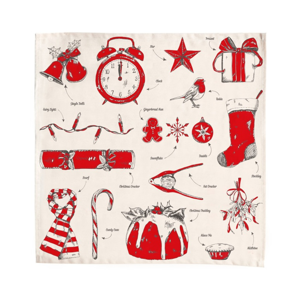 Christmas Delights 10% cotton napkin from Victoria Eggs.