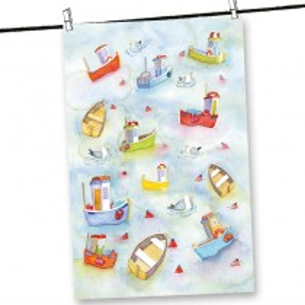 Emma Ball Boats Afloat Tea Towel.
