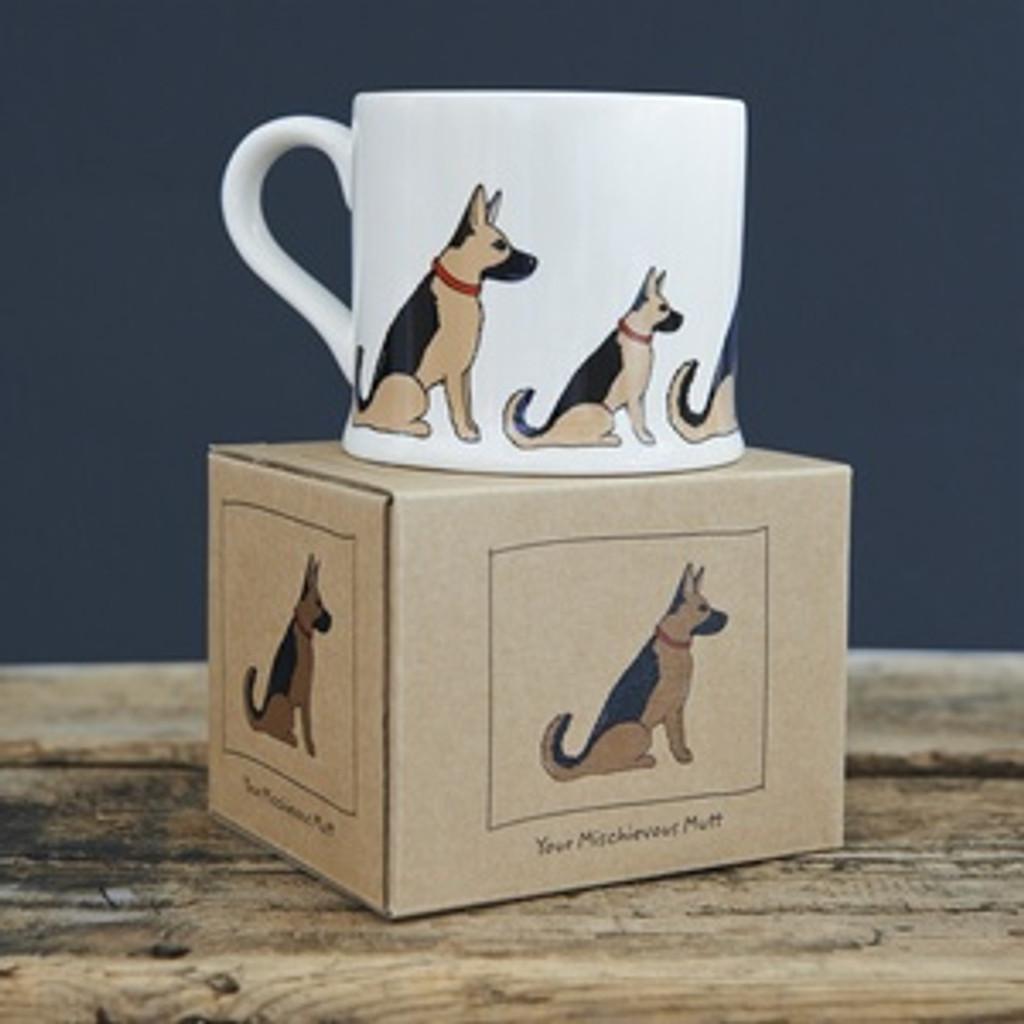 Pottery German Shepherd mug from Sweet William Designs.
