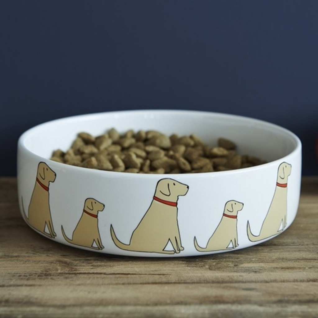 Pottery Yellow Labrador Dog Bowl from Sweet William Designs.