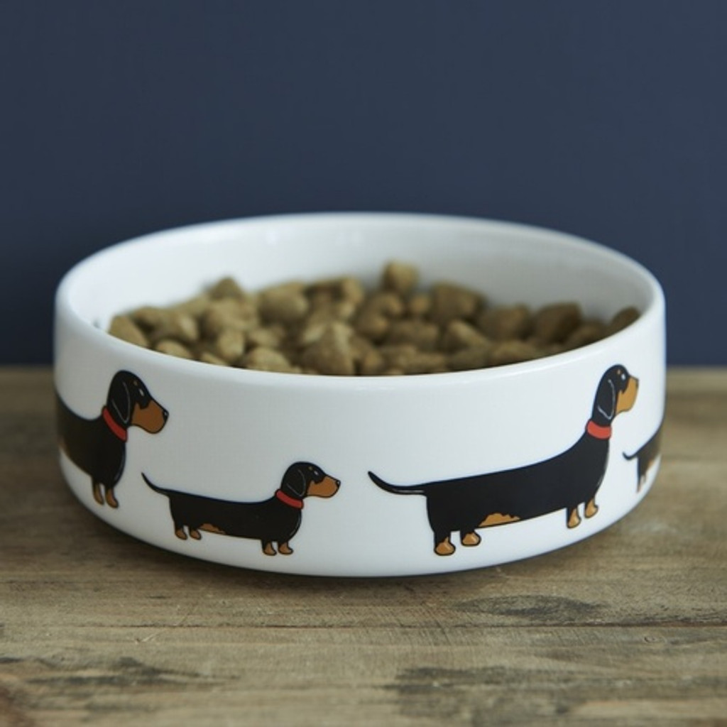 Pottery Dachshund Dog Bowl from Sweet William Designs.
