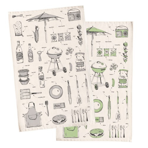 British Barbecue Tea Towel - Grey