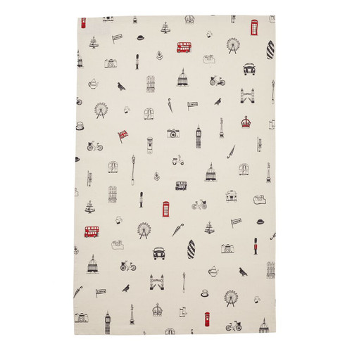 Simply London Tea Towel - Charcoal & Red