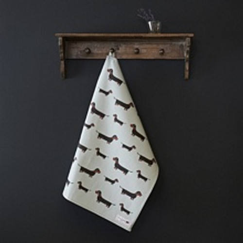 Organic cotton tea towel covered in Dachshunds from Sweet William Designs.