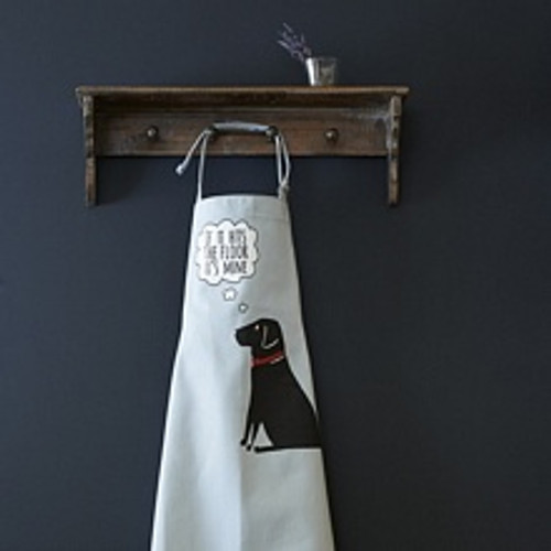 Organic cotton black labrador apron from Sweet William Designs.