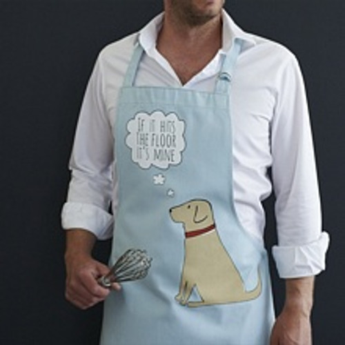 Organic cotton yellow labrador apron from Sweet William Designs.
