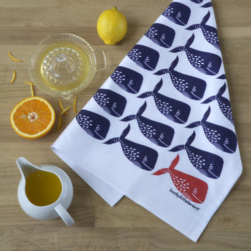 Whale tea towel with design from the original lino print artwork from Lucky Lobster Art in England.