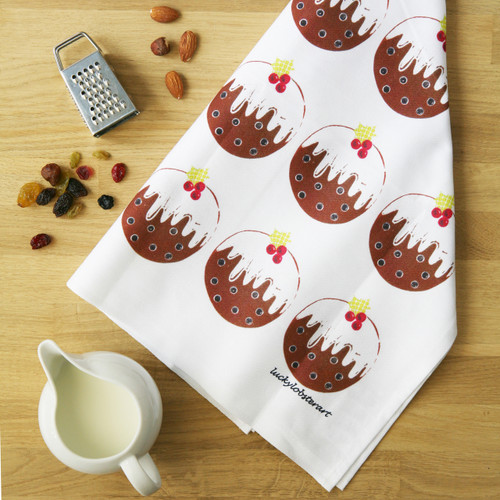 100% cotton Christmas pudding tea towel from British designer Lucky Lobster Art.