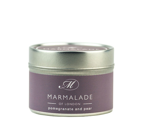 Pomegranate & Pear small tin candle from Marmalade of London.