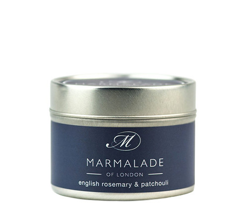 English Rosemary & Patchouli small tin candle from Marmalade of London.