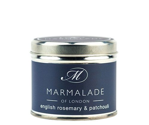 English Rosemary & Patchouli medium tin candle from Marmalade of London.