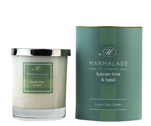 Tuscan Lime & Basil glass candle from Marmalade of London.