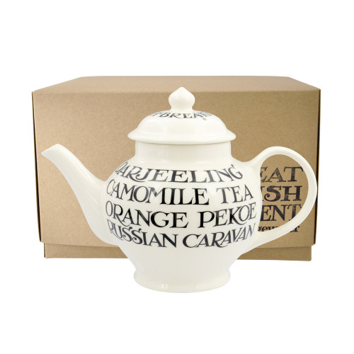 Small Emma Bridgewater pottery Black Toast teapot. Made in England.