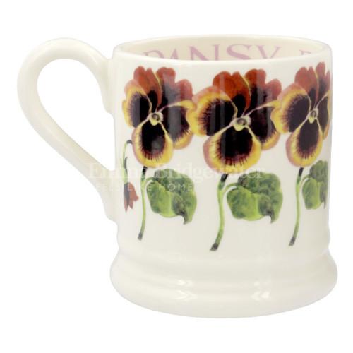 Handmade pottery pansy half pint mug from Emma Bridgewater.