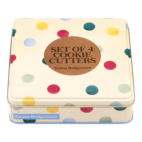 Emma Bridgewater Polka Dot Cookie Cutters in a tin.