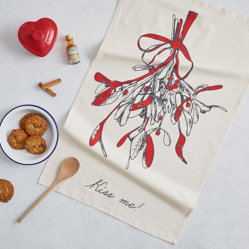Organic cotton Mistletoe Tea Towel from Victoria Eggs.