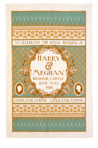 A traditionally designed Tea Towel celebrating the Royal Wedding of Prince Harry & Meghan Markle from Ulster Weavers.