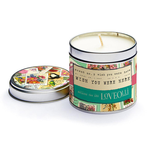 Love Olli Wish You Were Here scented tin candle. Hand poured in the UK.