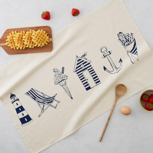 100% organic cotton Nautical Tea Towel from Victoria Eggs.