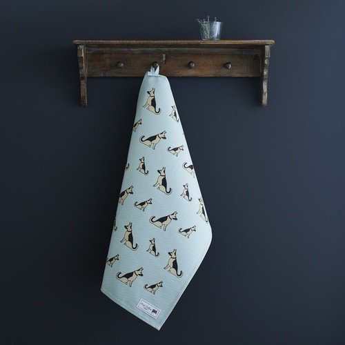 Organic cotton tea towel covered in German Shepherds from Sweet William Designs.