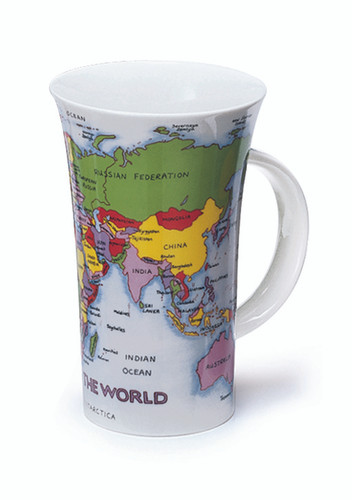 Dunoon Glencoe Map of the World fine bone china mug.
