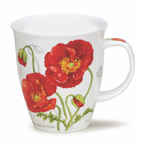 Dunoon Botanical Sketch Poppy mug in Nevis shape.
