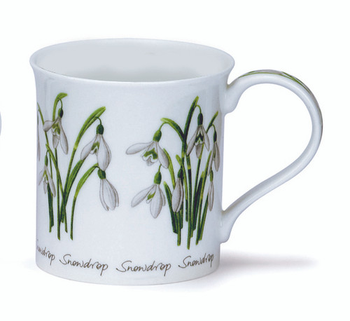 Dunoon Spring Flowers Snowdrop bone china mug in the Bute shape.